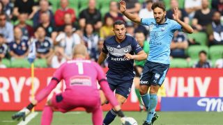 Andrew Nabbout of the Victory runs with the ball during the round 16 A-League match between the Melbourne Victory and Sydney FC