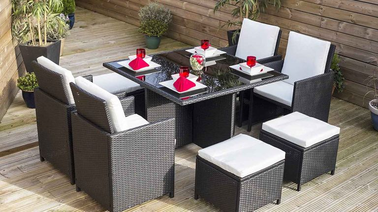 8-Seater Black Cube Rattan Garden Set