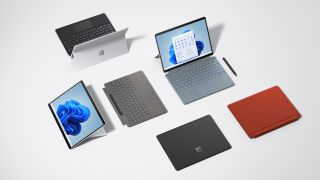 Microsoft Surface Pro X devioces on a blank white background