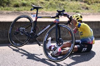 Team Education First rider Colombias Sergio Higuita sits on the road after crashing during the 15th stage of the 107th edition of the Tour de France cycling race 175 km between Lyon and Grand Colombier on September 13 2020 Photo by Marco BERTORELLO AFP Photo by MARCO BERTORELLOAFP via Getty Images