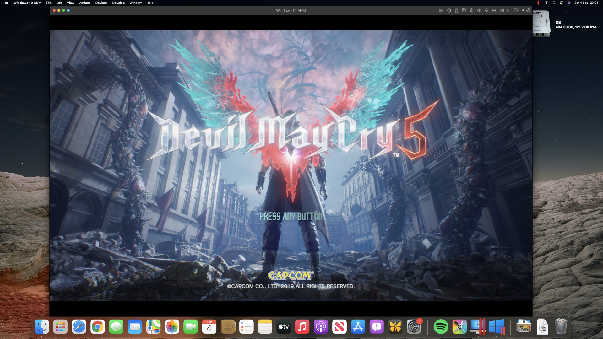 Devil May Cry 5 running in Parallels Desktop on a Mac mini M1