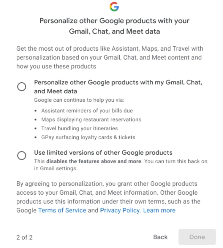 New Gmail smart features