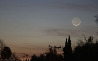 Comet Pan-STARRS and the Moon Space Wallpaper