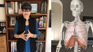Case Western Reserve University's School of Medicine anatomy professor Susanne Wish-Baratz teaches a HoloAnatomy class from her home.