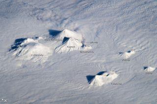Astronaut photo of volcanoes on Russia's Kamchatka Peninsula.