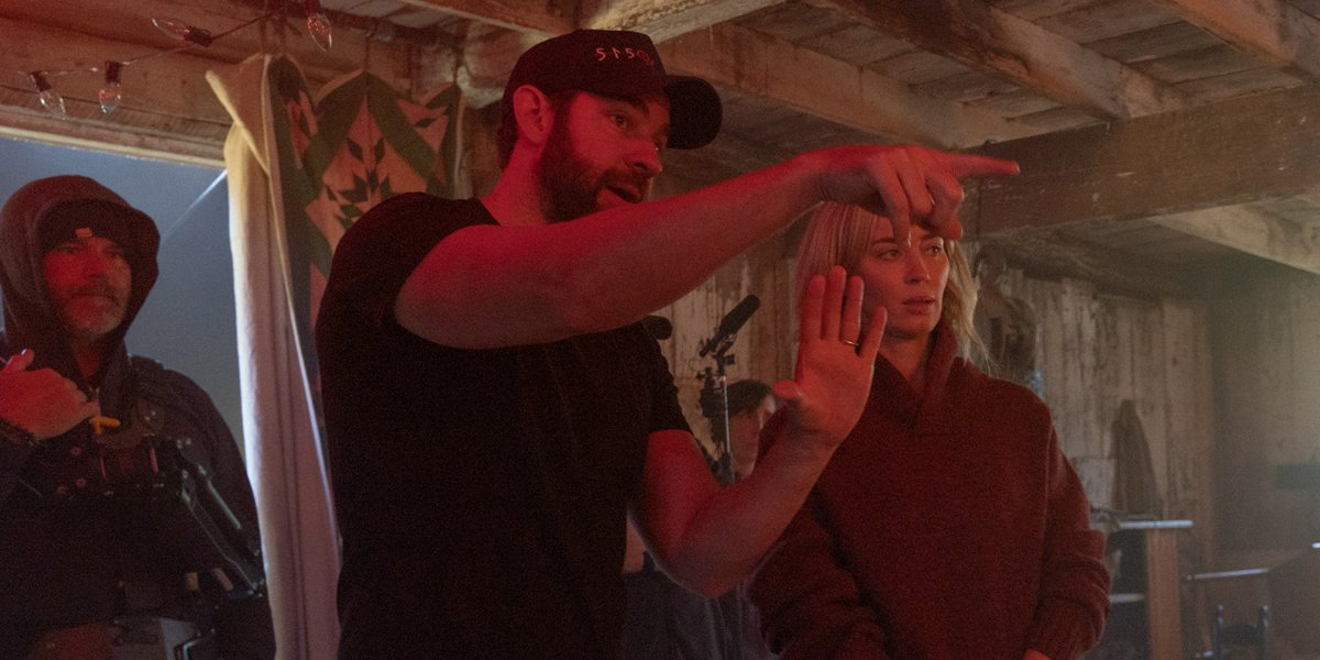 John Krasinski directing Emily Blunt in A Quiet Place Part 2
