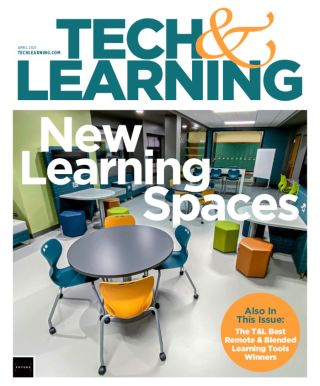 """April 2021 cover """"New Learning Spaces"""" with classroom"""