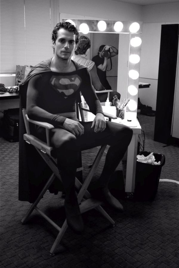 Henry Cavill in Christopher Reeve superman costume