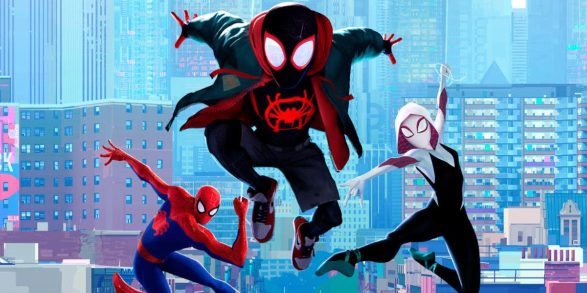 An action sequence in Spider-Man Into the Spider-Verse