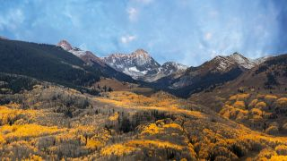 The fall colors turn the forests golden at the foot of Cathedral Peak Colorado