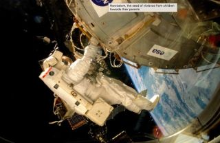 Astronaut Installing Fungi Experiment on Space Station