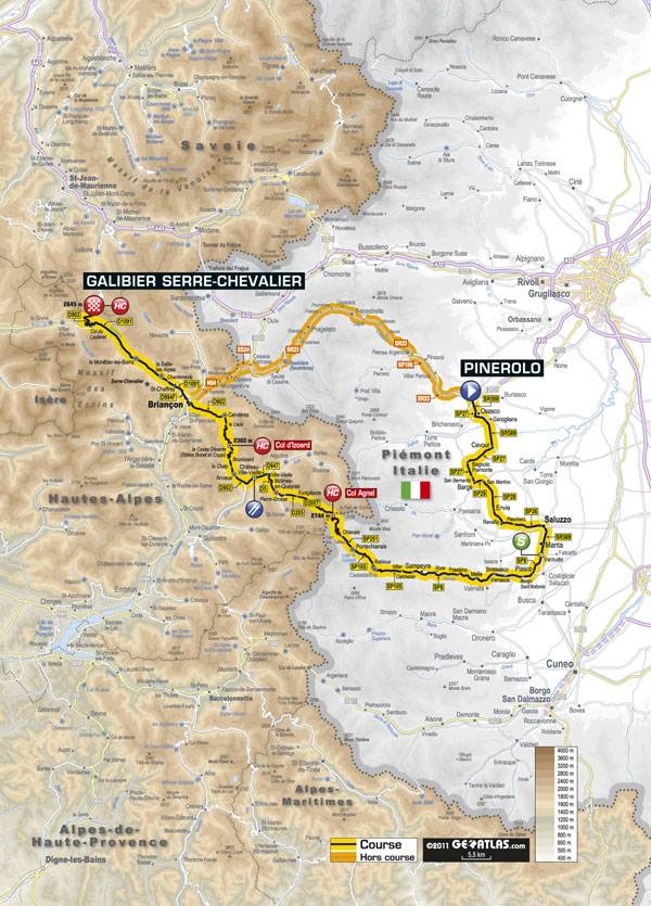 Stage 18 map, Tour de France 2011