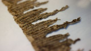 Fragments of the dead sea scrolls photographed in a lab in Jerusalem, Israel in 2012.