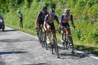 George Bennett and Gianluca Brambilla lead Chris Hamilton in the breakaway on stage 12 of the 2021 Giro d'Ialia