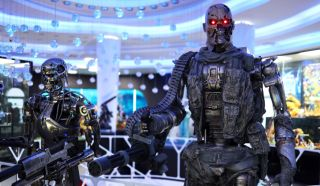 Models of killer robots from 'Terminator 2' on display at the Robot Dessert Cafe in Thailand.
