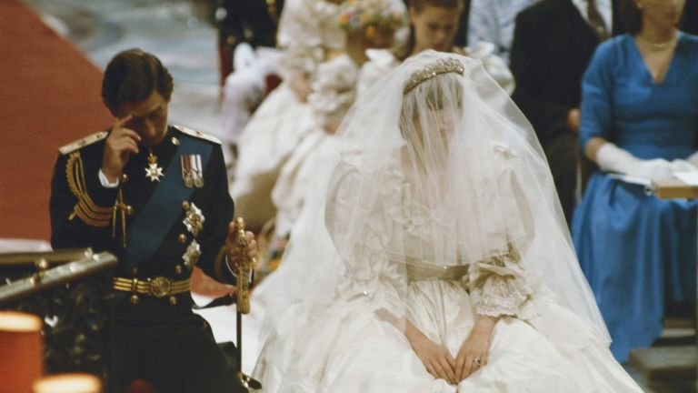 HRH Prince Charles marrying Lady Diana Spencer at St Paul's Cathedral, London, 29th July 1981. (Photo by Fox Photos/Hulton Archive/Getty Images)