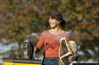 Marla Spivak getting ready to engage University of Minnesota bee colonies.