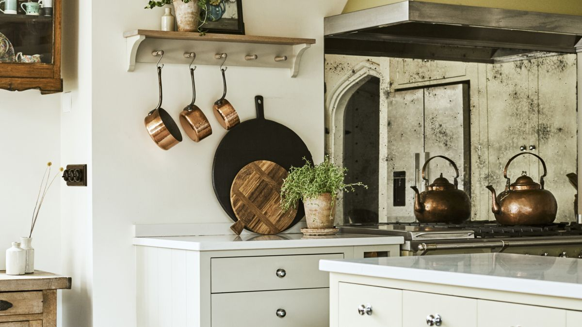 Antique and fluted glass are trending in the kitchen