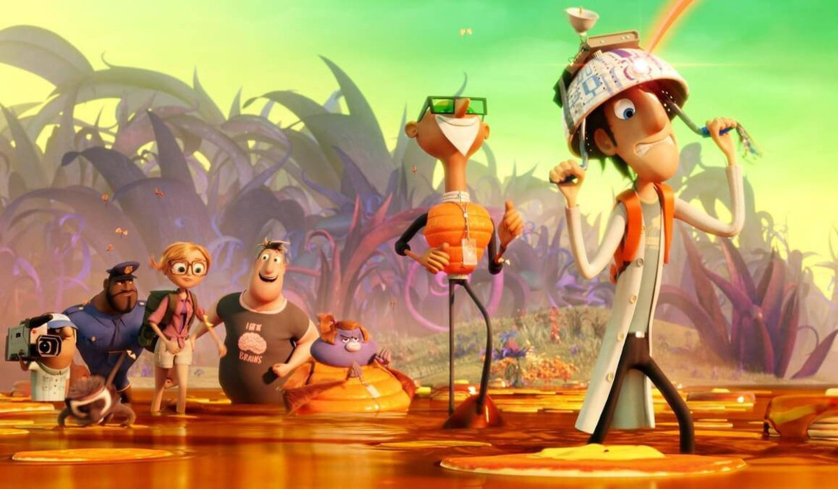 Cloudy With A Chance Of Meatballs 2 Flint leads the group through a food swamp