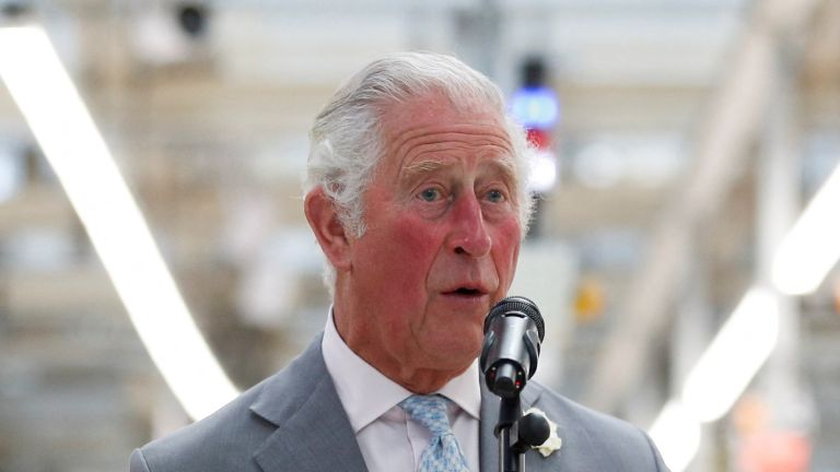 Britain's Prince Charles, Prince of Wales, makes a speech on th production line to employees during his visit to the MINI plant in Oxford on June 8, 2021. (Photo by PETER NICHOLLS / POOL / AFP) (Photo by PETER NICHOLLS/POOL/AFP via Getty Images)