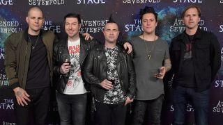 A photograph of Avenged Sevenfold taken in 2016 at their The Stage press event