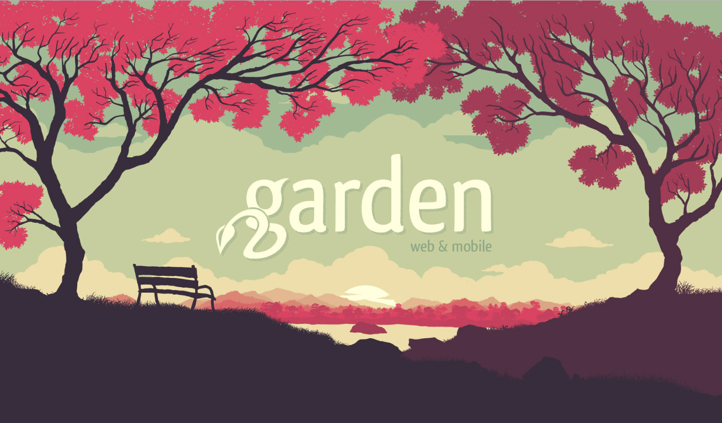 Screenshot of Garden site shows an illustration of a bench under red-leafed trees overlooking a lake