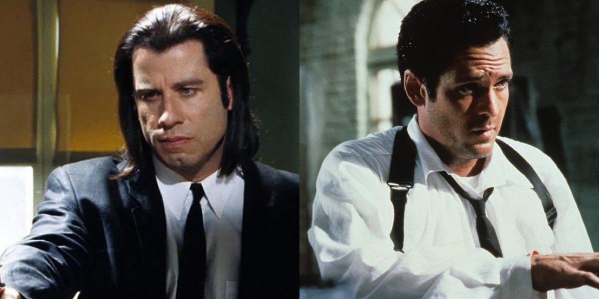 John Travolta as Pulp Fiction's Vincent Vega and Michael Madsen as Vic Vega in Reservoir Dogs