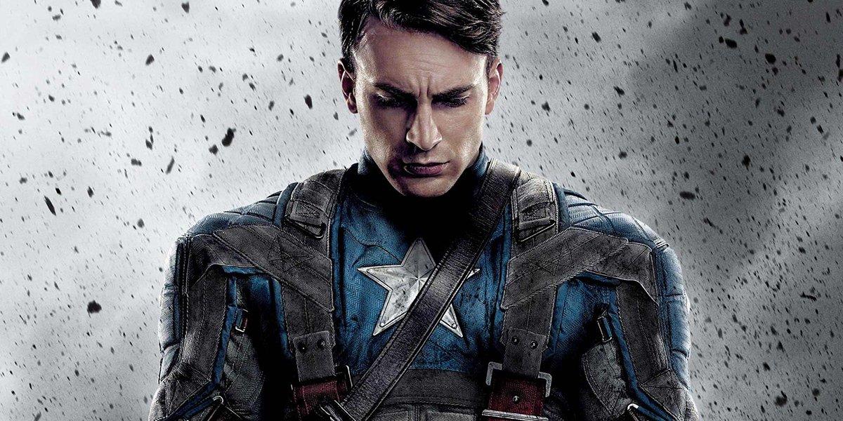 Captain America: The First Avenger Chris Evans looks down somberly