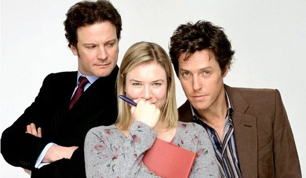 Bridget Jones's Diary Colin Firth Renee Zellweger Hugh Grant huddled around the diary
