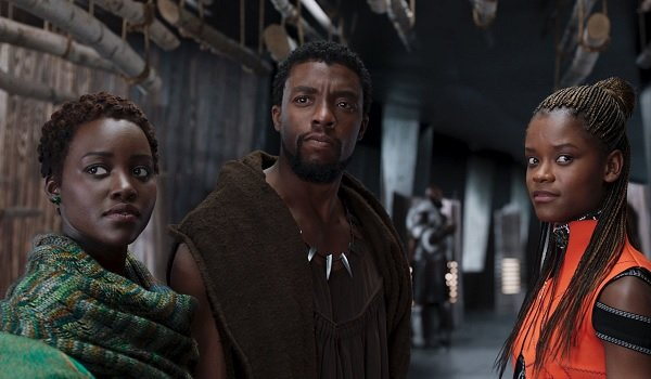 Black Panther Lupita Nyong'o Chadwick Bosemana and Letitia Wright hanging out in a corridor