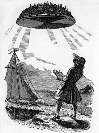 Illustration of the floating island of Laputa, a strange land in Jonathan Swift's 'Guliver's Travels.' Public domain image.