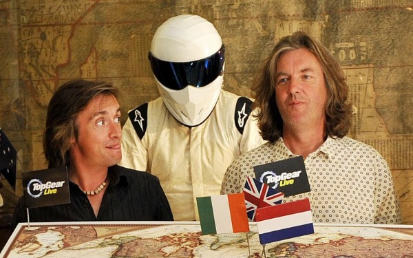 Richard Hammond and May with the Stig at a Top Gear Live event