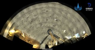 China's Chang'e 5 moon lander snapped this image shortly after touching down on the moon on Dec. 1, 2020.