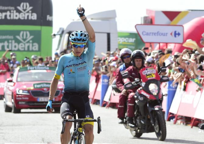 Miguel Angel Lopez wins stage 15 of the Vuelta a España.