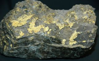 A gold and quartz hydrothermal vein unearthed at the O'Brien mine in Quebec, Canada.