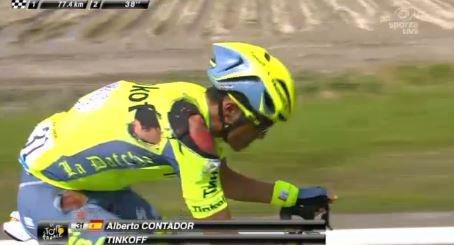 A television image of Contador after his crash