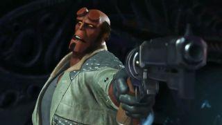 Hellboy points a gun