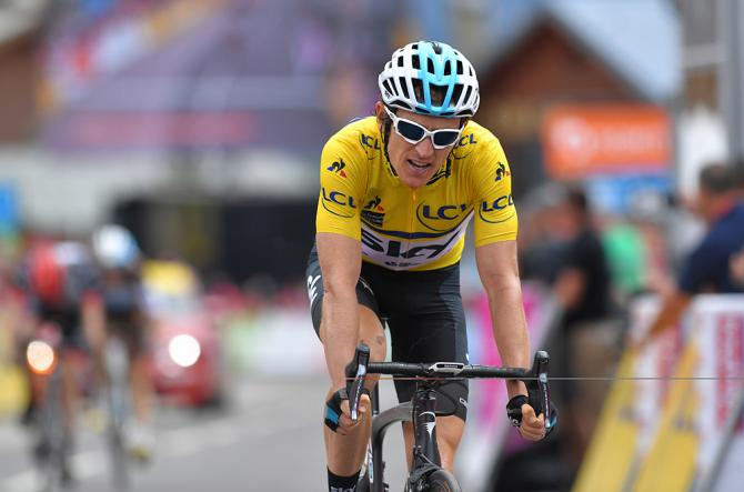 Geraint Thomas (Team Sky) finished second on stage 6 at the Criterium du Dauphine