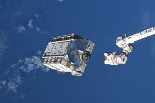 The International Space Station jettisons a 2.9-ton pallet carrying used batteries on March 11, 2021. This photo was posted on Twitter by NASA astronaut Mike Hopkins.