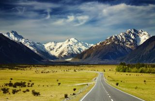 The Southern Alps mountain range of New Zealand.