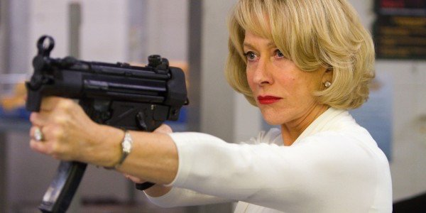 Helen Mirren with an uzi