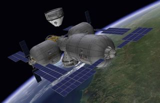 Boeing CST-100 Approaching Bigelow Space Station Image