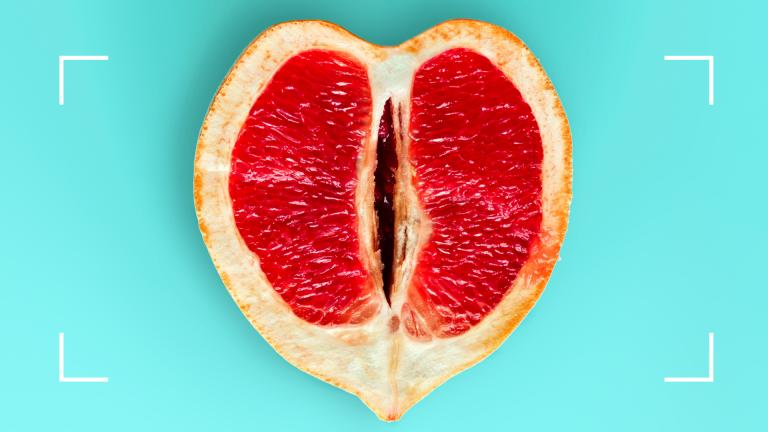 grapefruit on blue background