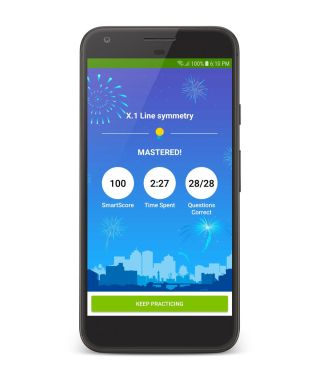 Phone screenshot of IXL learning app featuring math