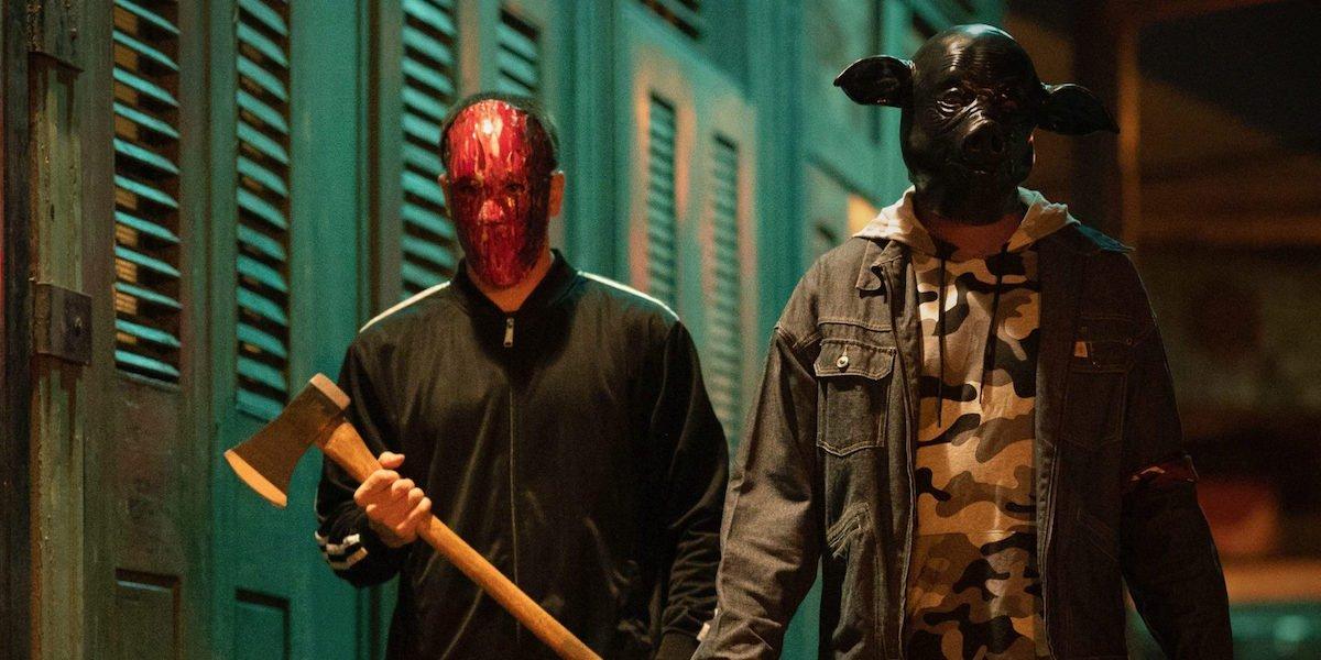 Masked Purge people