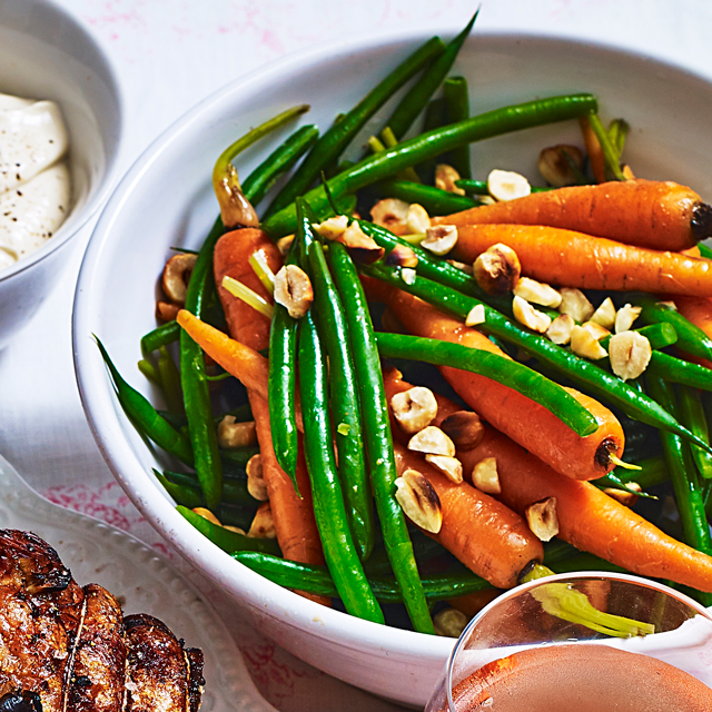 Spring Carrots And Green Beans With Hazelnuts