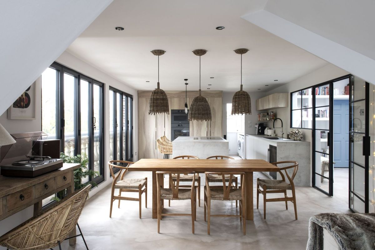 This Clapham penthouse boasts rustic, Ibiza-inspired interiors and industrial details