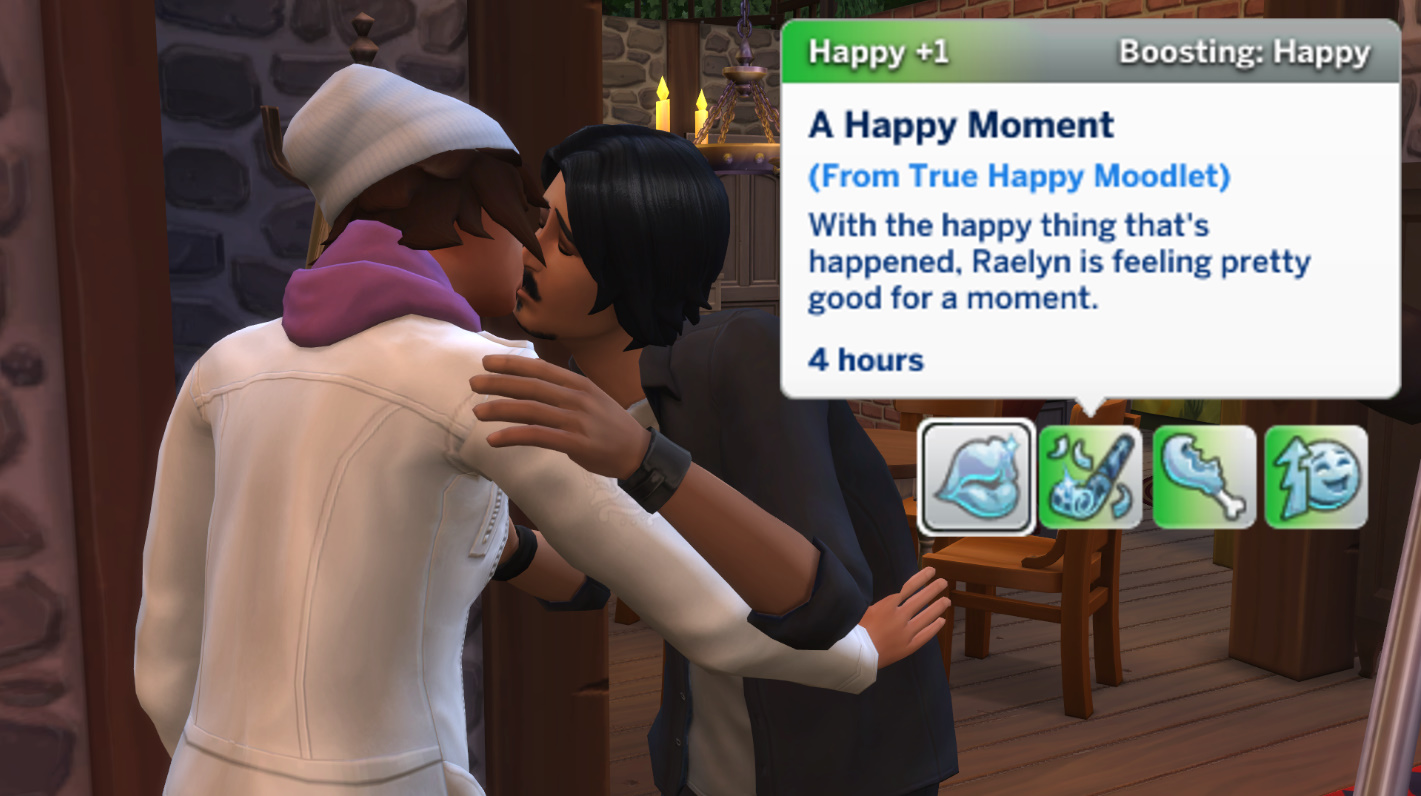 """Two Sims kissing with a pop-up that says they are having a """"Happy Moment"""""""