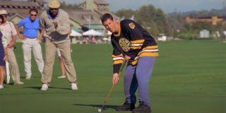 Adam Sandler in Happy Gilmore golf scene, having trouble putting.