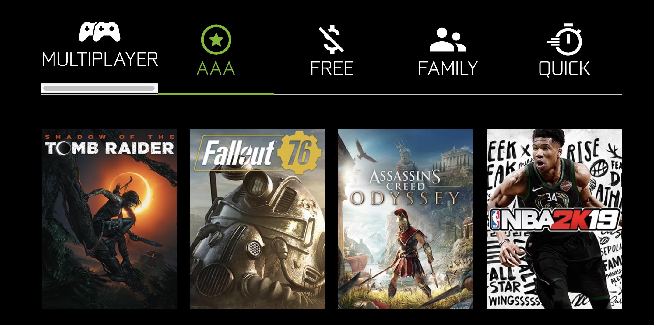 A look at the gaming menu on the Nvidia Shield TV Pro